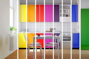 Rainbow coloured kitchen cabinets