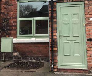 vintage green upvc windows and doors